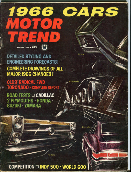 August 1965 Motor Trend Car Magazine - Oldsmobile's Radical FWD Toronado   - TvMovieCards.com