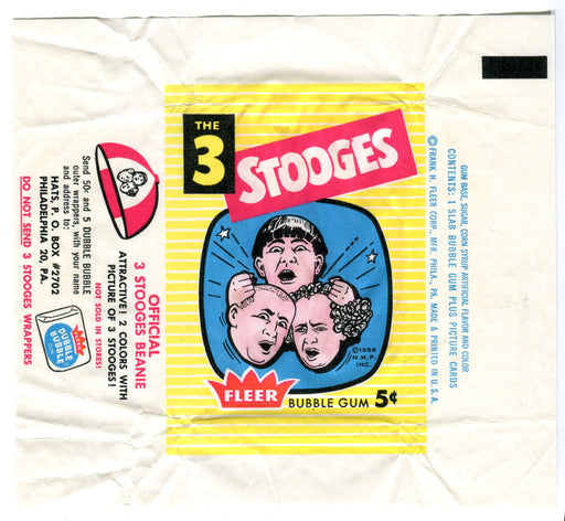 Three Stooges 1959 Fleer Vintage 5 Cent Bubble Gum Trading Card Wrapper   - TvMovieCards.com