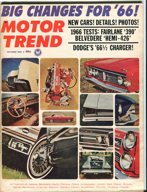 October 1965 Motor Trend Car Magazine - Hemi 426 '66 1/2 Dodge Charger   - TvMovieCards.com