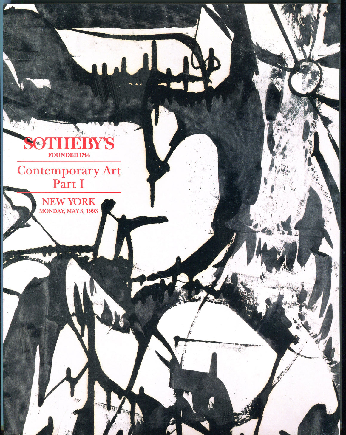 Sothebys Auction Catalog May 3 1993 Contemporary Art, Part I
