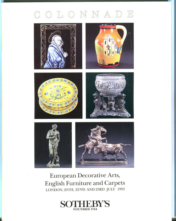 Sothebys Auction Catalog July 1993 European Decorative Arts Furniture & Carpets