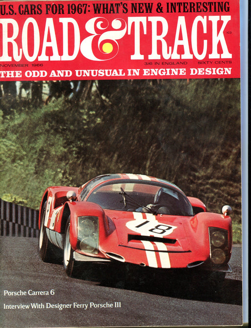 Nov 1965 Road & Track Magazine - Porsche Carrera 6 Mercedes-Benz 250   - TvMovieCards.com