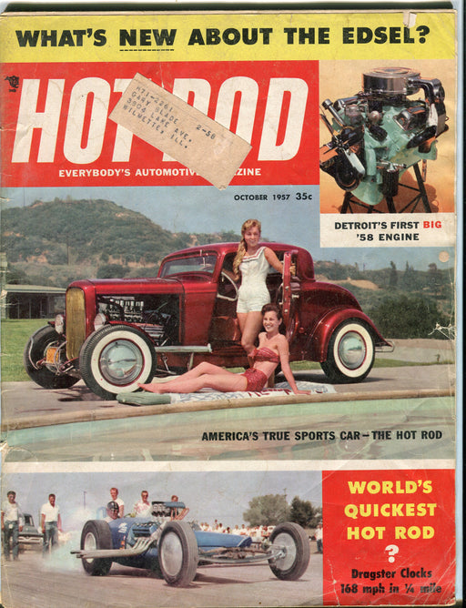 October 1957 Hot Rod Magazine - Whats new about Edsel? Dragster Clocks 168 MPH   - TvMovieCards.com