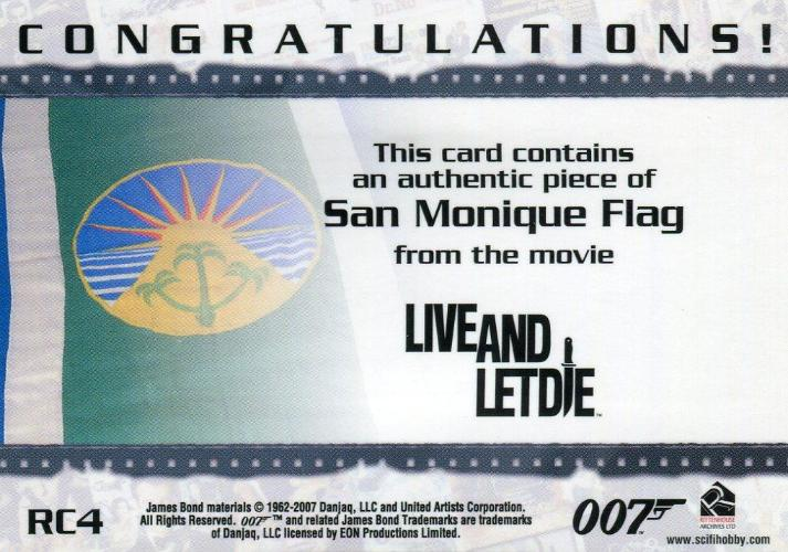 James Bond Complete San Monique Flag Relic Card RC4   - TvMovieCards.com