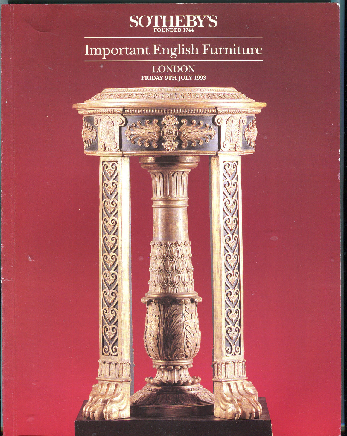 Sothebys Auction Catalog July 9 1993 Important English Furniture
