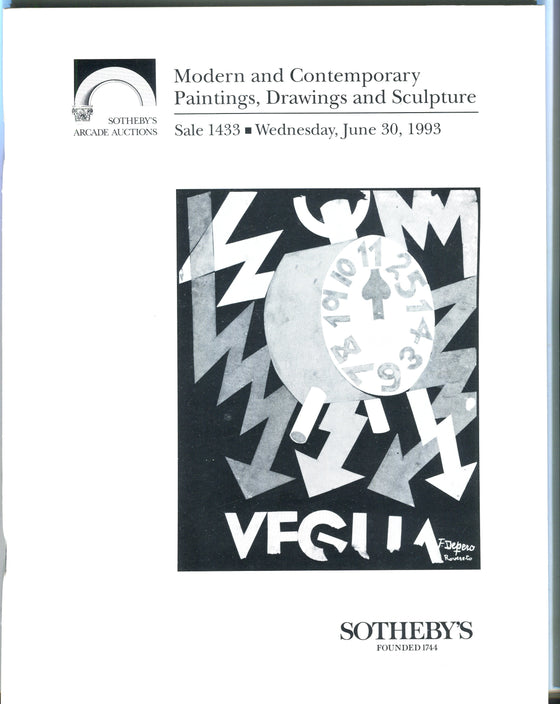 Sothebys Auction Catalog June 30 1993 Modern Contemporary Paintings Drawings