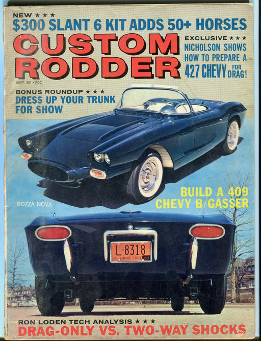 Sept 1963 Custom Rodder Magazine - 427 Chevy For Drag! Bozza Nova Corvette   - TvMovieCards.com