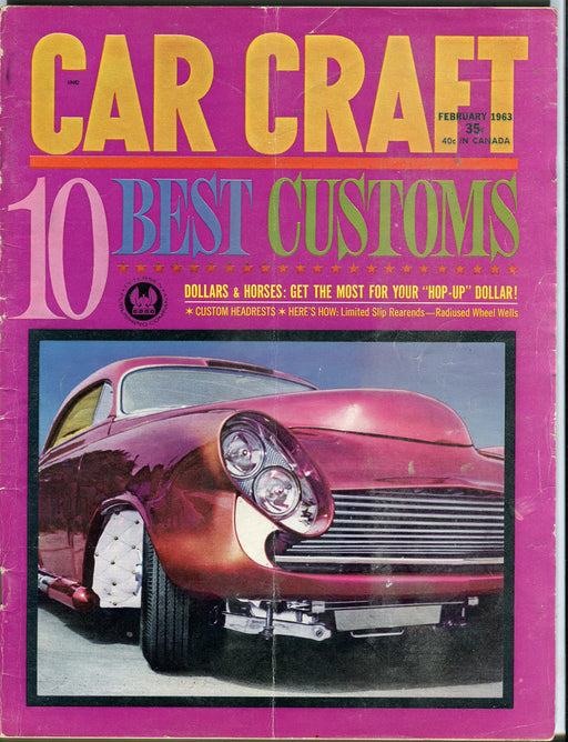 Feb 1963 Car Craft Magazine - 10 Best Customs 1950 Mercury Ford Fairlane   - TvMovieCards.com