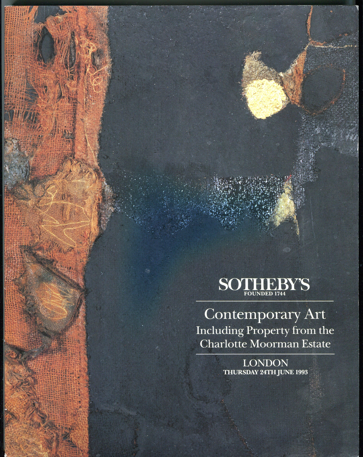 Sothebys Auction Catalog June 24 1993 Contemporary Art Charlotte Moorman Estate