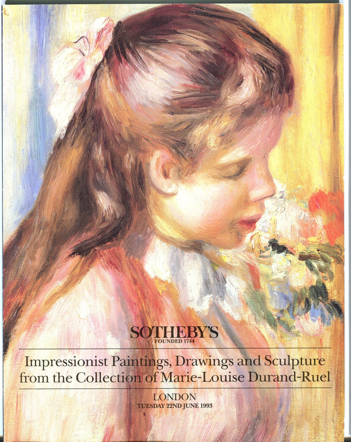 Sothebys Auction Catalog June 1993 Durand-Ruel Collection Impressionist Paintings