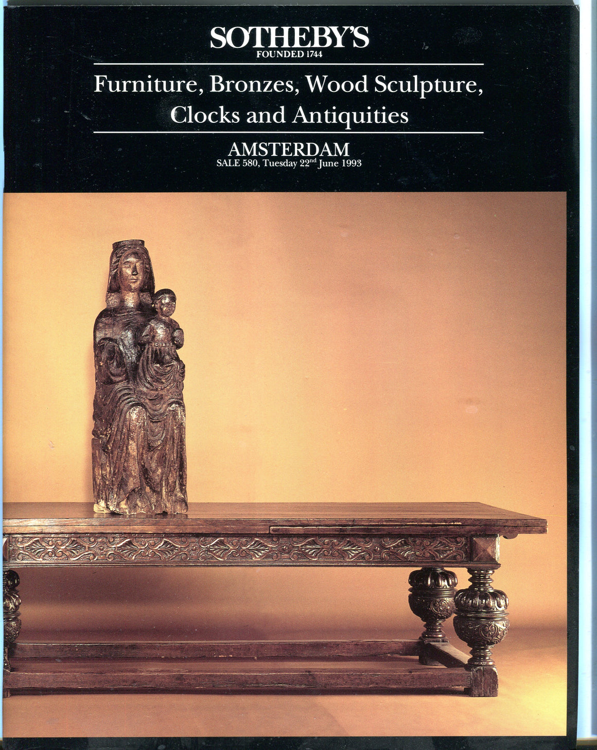 Sothebys Auction Catalog June 1993 Furniture Bronzes Wood Sculpture Clocks