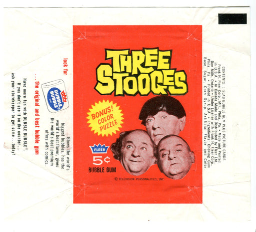 Three Stooges 1965 Fleer Vintage 5 Cent Bubble Gum Trading Card Wrapper   - TvMovieCards.com