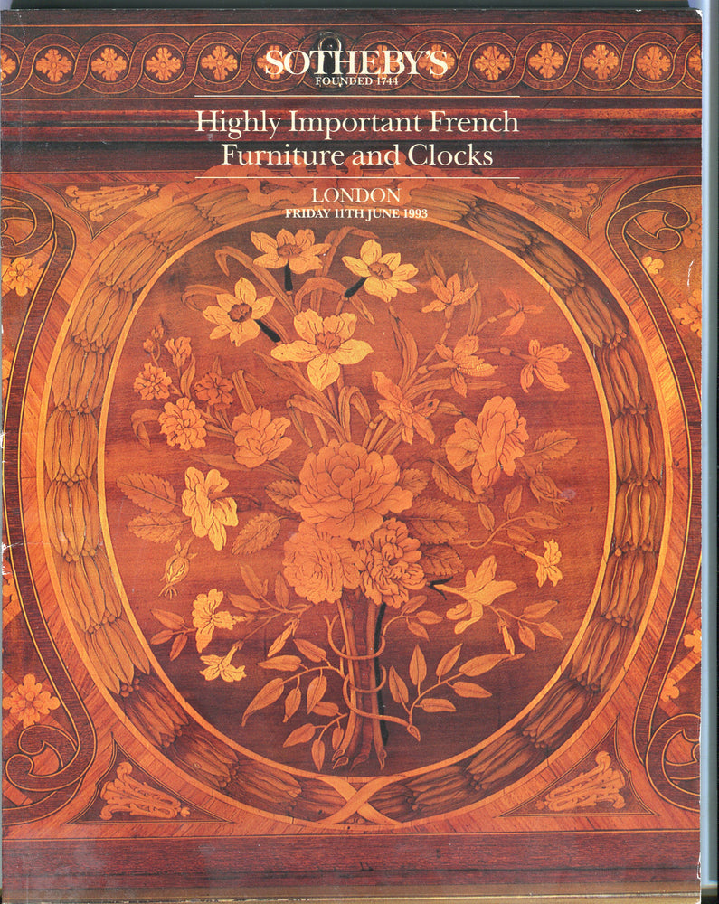 Sothebys Auction Catalog June 11 1993 Highly Important French Furniture & Clocks   - TvMovieCards.com