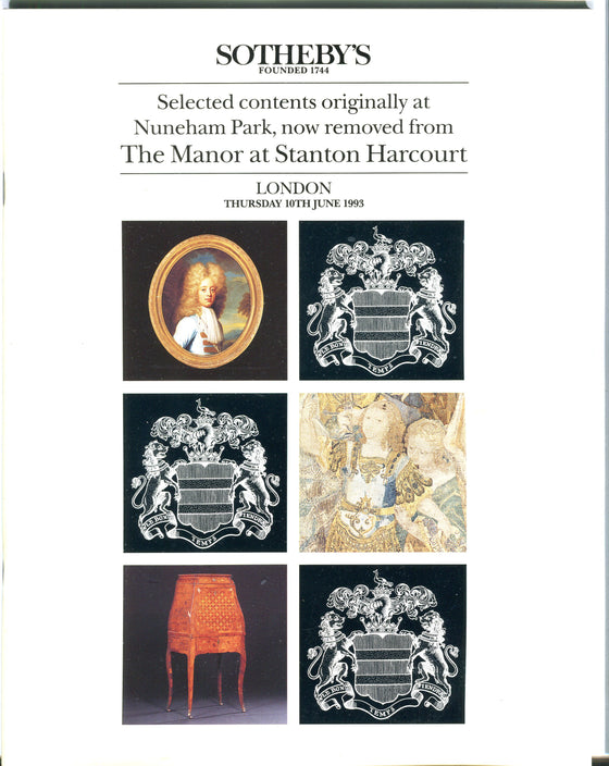 Sothebys Auction Catalog June 10 1993 Contents of Nuneham Park, Stanton Harcourt