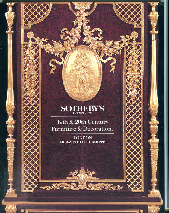 Sothebys Auction Catalog Oct 29 1993 19th 20th Century Furniture & Decorations