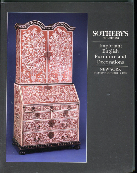 Sothebys Auction Catalog Oct 16 1993 Important English Furniture & Decorations