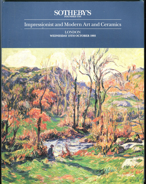 Sothebys Auction Catalog Oct 13 1993 Impressionist Modern Art & Ceramics   - TvMovieCards.com