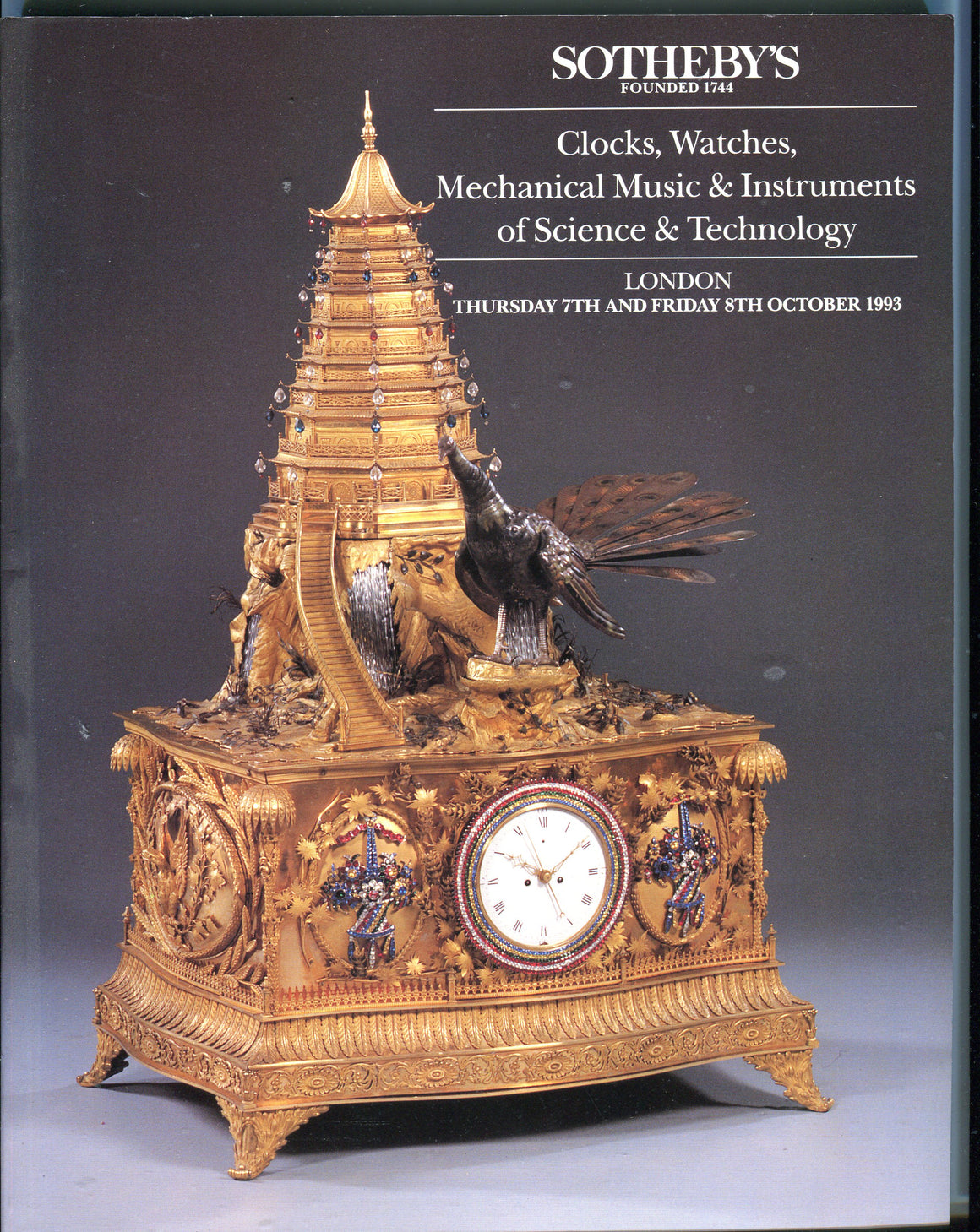 Sothebys Auction Catalog Oct 7 1993 Clocks Watches Mechanical Music Instruments