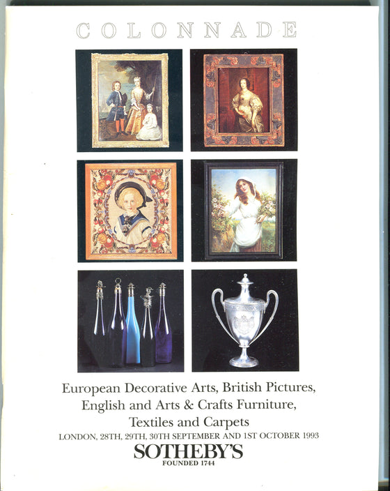 Sothebys Auction Catalog Oct 1 1993 European Decorative Arts, British Pictures