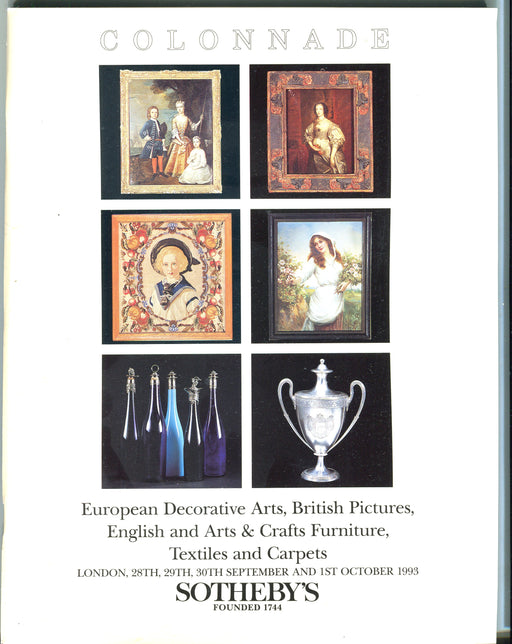 Sothebys Auction Catalog Oct 1 1993 European Decorative Arts, British Pictures   - TvMovieCards.com