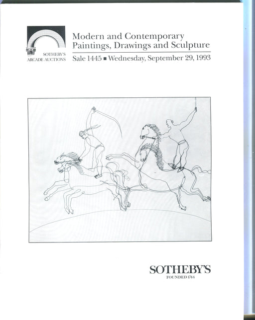 Sothebys Auction Catalog Sept 29 1993 Modern & Contemporary Paintings Drawings   - TvMovieCards.com
