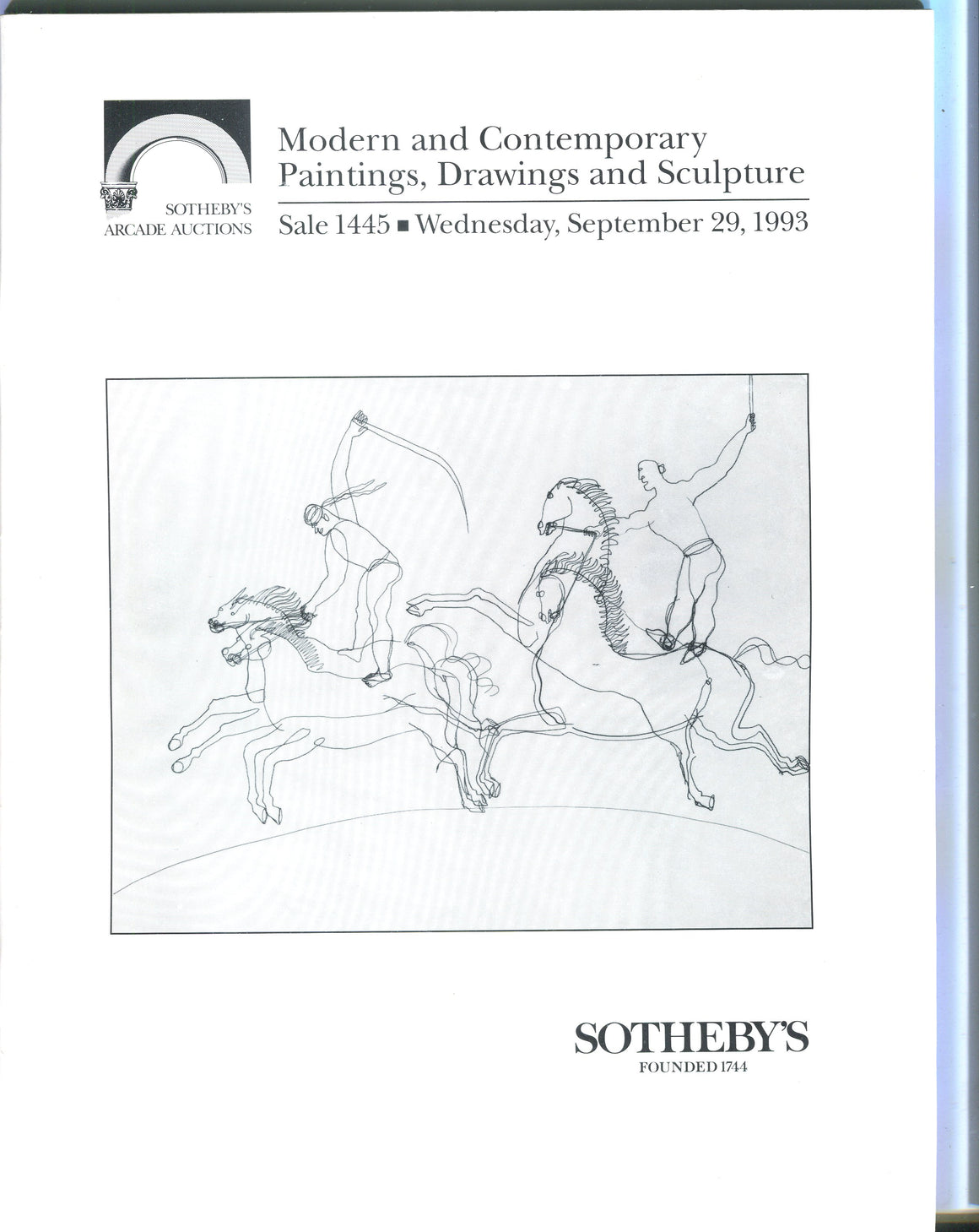 Sothebys Auction Catalog Sept 29 1993 Modern & Contemporary Paintings Drawings