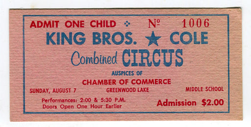 Vintage King Bros. / Cole Combined Circus Admission Ticket One Child   - TvMovieCards.com