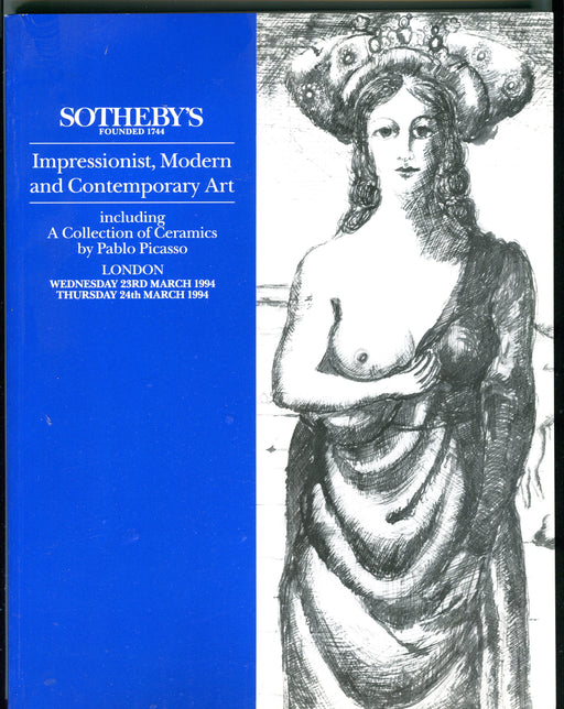 Sothebys Auction Catalog March 23 1994 Collection of Ceramics by Pablo Picasso   - TvMovieCards.com