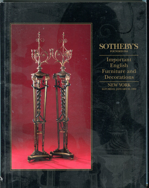 Sothebys Auction Catalog Jan 22 1994 Important English Furniture & Decorations   - TvMovieCards.com