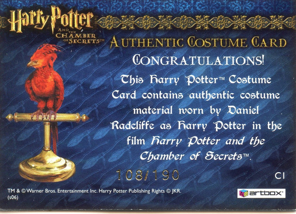 Harry Potter Chamber Secrets Harry's Red Shirt Costume Card HP C1 #108/190   - TvMovieCards.com