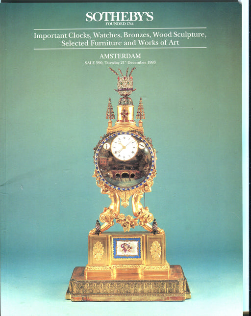 Sothebys Auction Catalog Dec 21 1993 Important Clocks Watches Bronzes Sculpture   - TvMovieCards.com