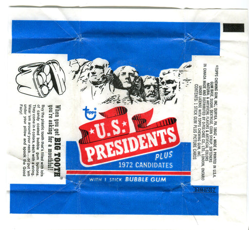 U.S. Presidents 1972 Topps Vintage Bubble Gum Trading Card Wrapper   - TvMovieCards.com