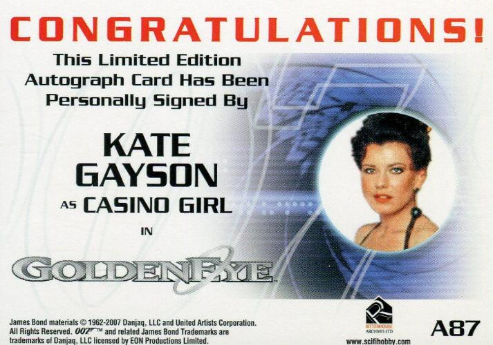 James Bond in Motion 2008 Kate Gayson as Casino Girl Autograph Card A87   - TvMovieCards.com