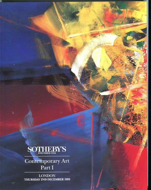 Sothebys Auction Catalog Dec 2 1993 Contemporary Art Part I   - TvMovieCards.com
