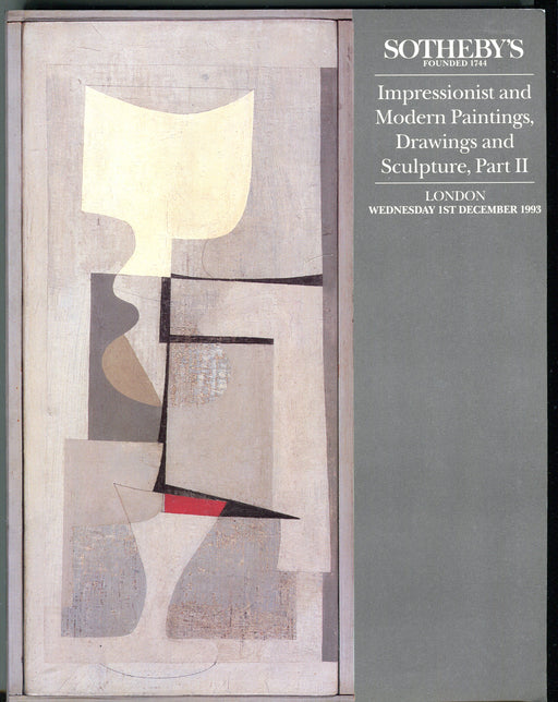 Sothebys Auction Catalog Dec 1 1993 Impressionist Modern Paintings Part II   - TvMovieCards.com