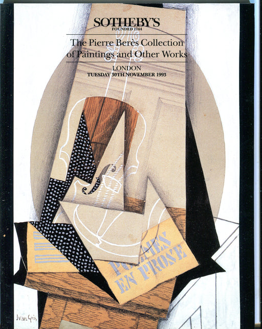 Sothebys Auction Catalog Nov 30 1993 Pierre Beres Collection of Paintings   - TvMovieCards.com
