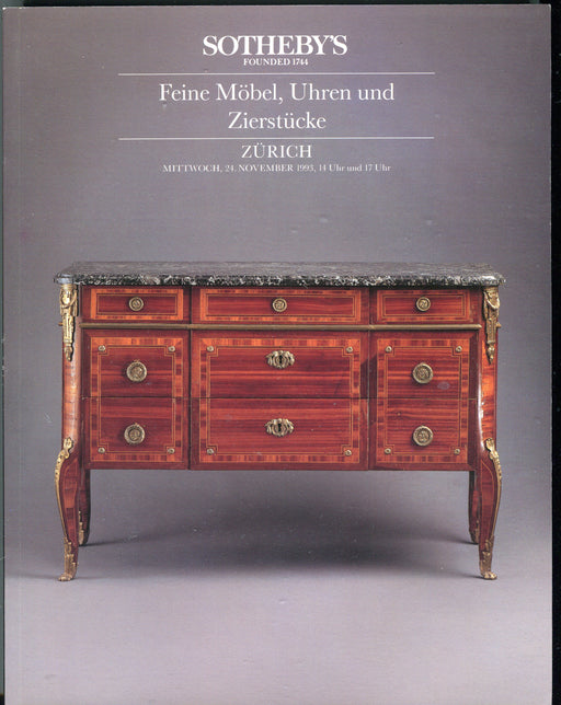 Sothebys Auction Catalog Nov 24 1993 Feine Mobel Uhren and Zierstucke   - TvMovieCards.com