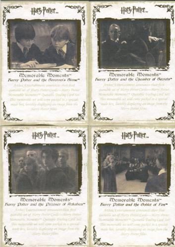 Harry Potter Memorable Moments Gold Foil Promo Card Set 4 Cards   - TvMovieCards.com