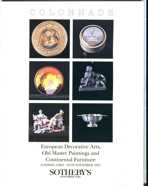 Sothebys Auction Catalog Nov 1993 Old Master Paintings Continental Furniture   - TvMovieCards.com