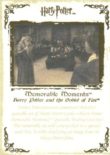 Harry Potter Memorable Moments Gold Foil Promo Card Promo 4   - TvMovieCards.com