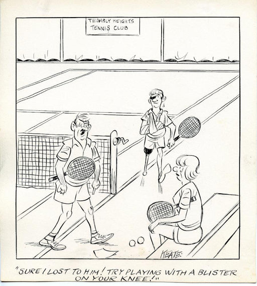 Jeff Keate Time Out Comic Strip Original Art  Tennis  (Playing with a Blister)   - TvMovieCards.com