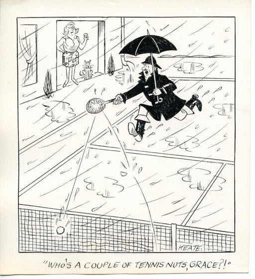 Jeff Keate Time Out Comic Strip Original Art  Tennis  (Couple of Tennis Nuts)   - TvMovieCards.com