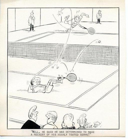 Jeff Keate Time Out Comic Strip Original Art  Tennis  (Highly Touted Serve)   - TvMovieCards.com