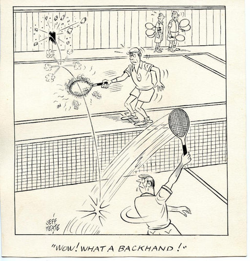 Jeff Keate Time Out Comic Strip Original Art  Tennis  (What a Backhand)   - TvMovieCards.com