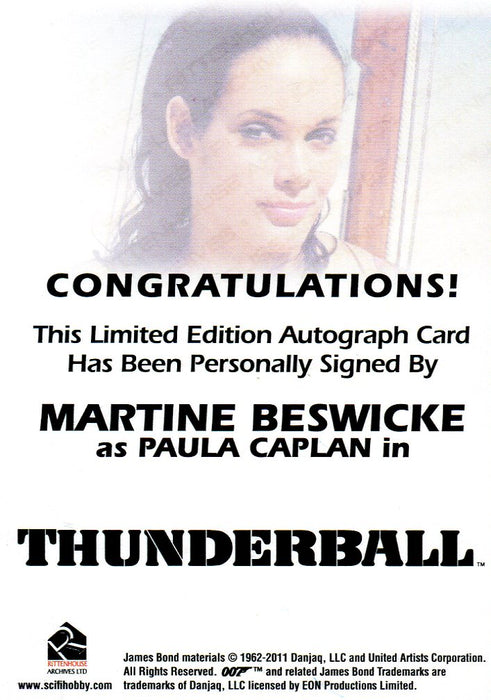 James Bond Autographs & Relics Martine Beswicke as Paula Caplan Autograph Card   - TvMovieCards.com
