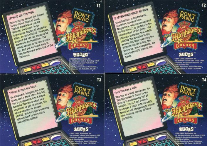 Hitchhiker's Guide to the Galaxy Tekchrome Chase Card Set T1 - T4 Cardz 1994   - TvMovieCards.com