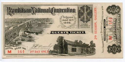 1896 Republican National Convention Ticket Day 1 William McKinley 25th President   - TvMovieCards.com