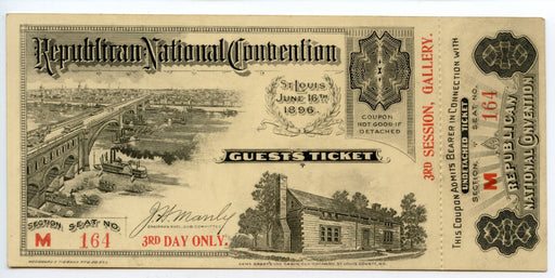 1896 Republican National Convention Ticket Day 3 William McKinley 25th President   - TvMovieCards.com