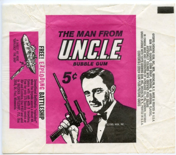 Man from Uncle Topps Vintage Card Gum Wrapper 1965