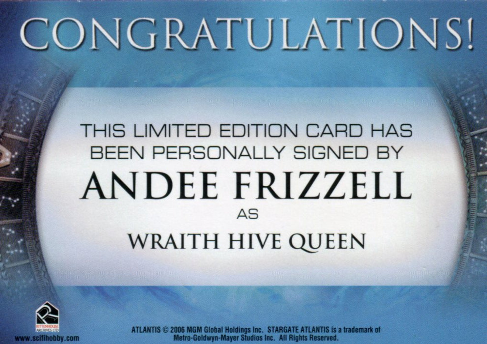 Stargate Atlantis Season Two Andee Frizzell as Wraith Hive Queen Autograph Card   - TvMovieCards.com